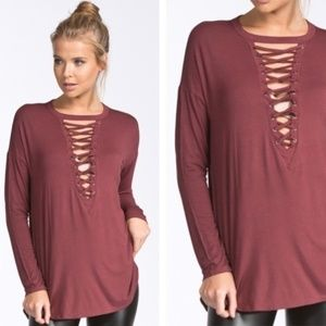 Tops - Soft Lace-up LS